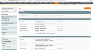 Magento 1 panel showing how to update base URL or change site name.