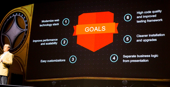 Snapshot of Magento Imagine showing the goals of Magento 2