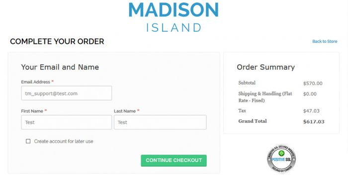 Madison plugin showing checkout page with order summary