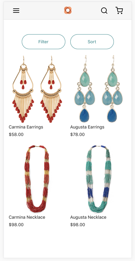 Screenshot of an online store with 2 ear-rings and 2 necklaces