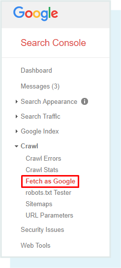 Red marker on Fetch as google option on a google page