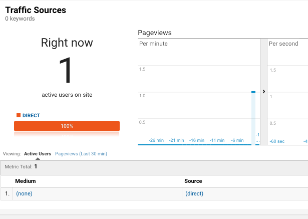Magento 2 Google Analytics - real time users
