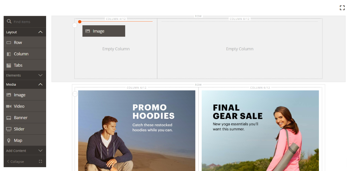 Magento 2.3 Page Builder: grid system